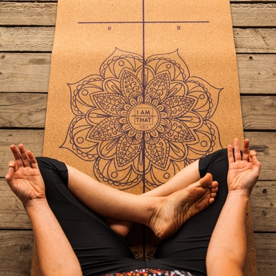 The Om Revolution Cork Yoga Mat - this natural mat made from recycled cork is Marked with alignment guides, lines and angles. these marks take the guessing out of your alignment work and lets you focus on other, more important aspects of your practice.