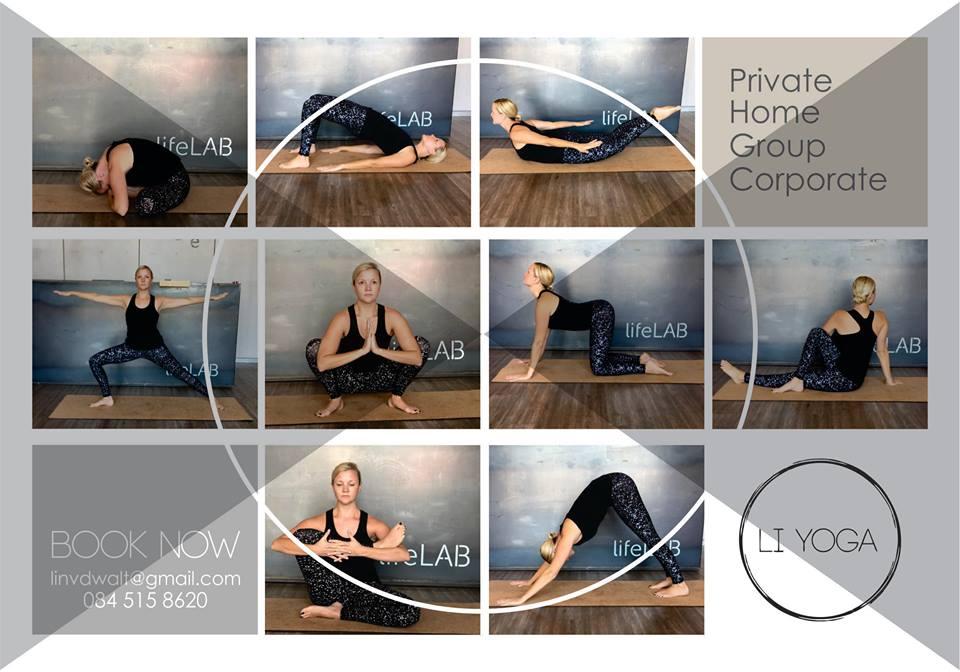 Pretoria, Midstream Estates - Hatha / Women's Wellness Yoga Therapy / Children / Home / Group / CorporateEmail | Instagram | FacebookStudios: Lifelab 320, Midstream Estates,Owner of Li Yoga084 515 8620