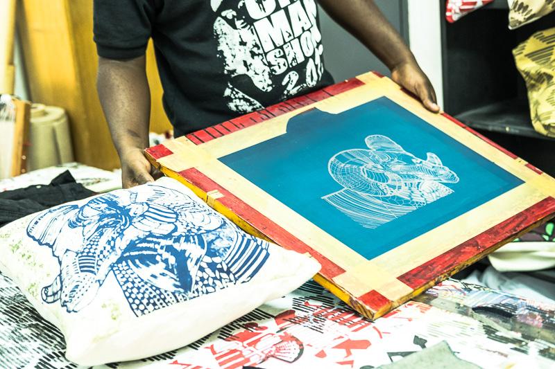 Im Siebdruckverfahren hergestellte Kissenhülle