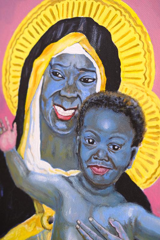 """In diesem Bild porträtiert Welcome Danca Brenda Fassie, die auch die """" Madonna der Townships"""" genannt wurde. Sie war eine südafrikanische Popsängerin, die 39jährig im Jahr 2004 an einer Überdosis Kokain verstarb."""