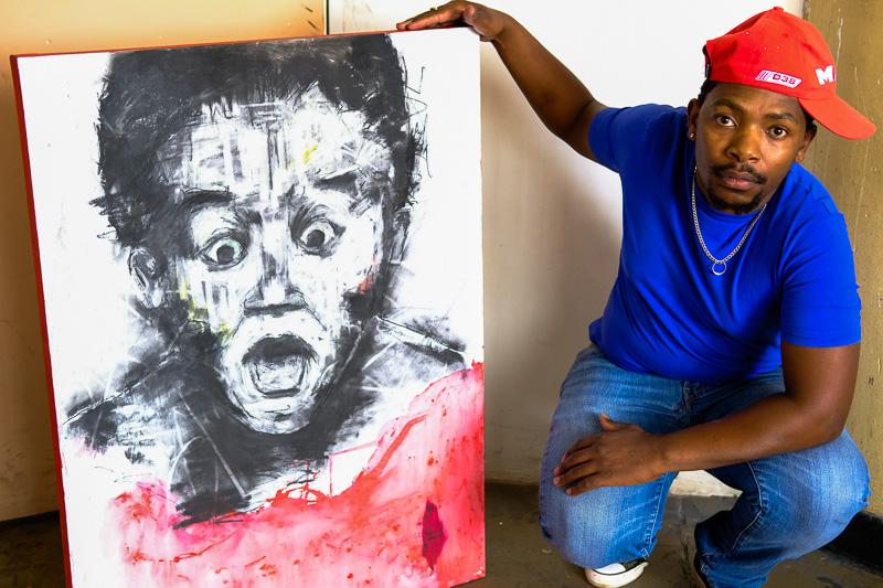 Lebohang Sithole mit einem seiner Werke