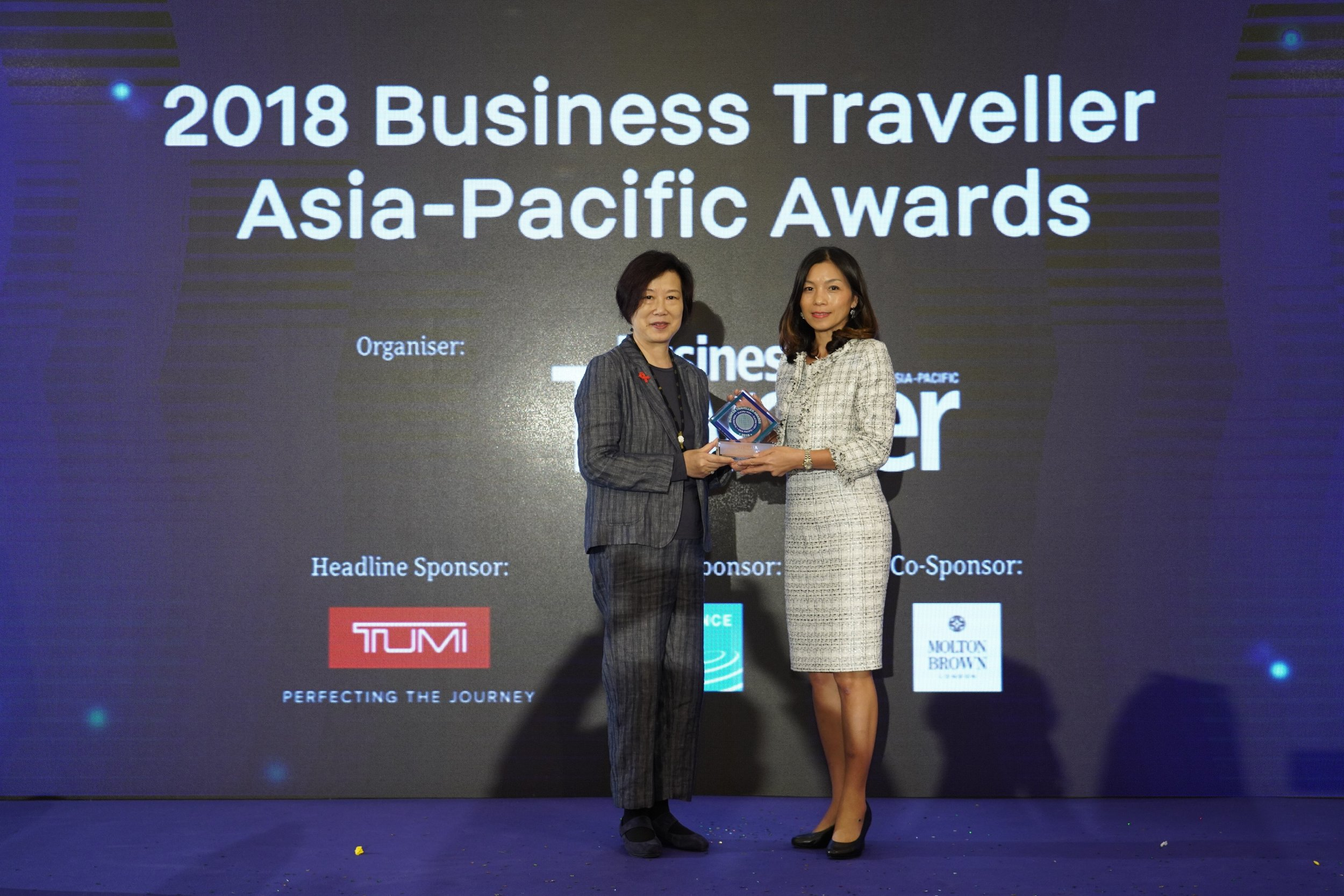 AirAsia Hong Kong and Macao CEO Celia Lao received the trophy for Best Low-cost Airline at the 2018 Business Traveller Asia-Pacific Awards held in Hong Kong.