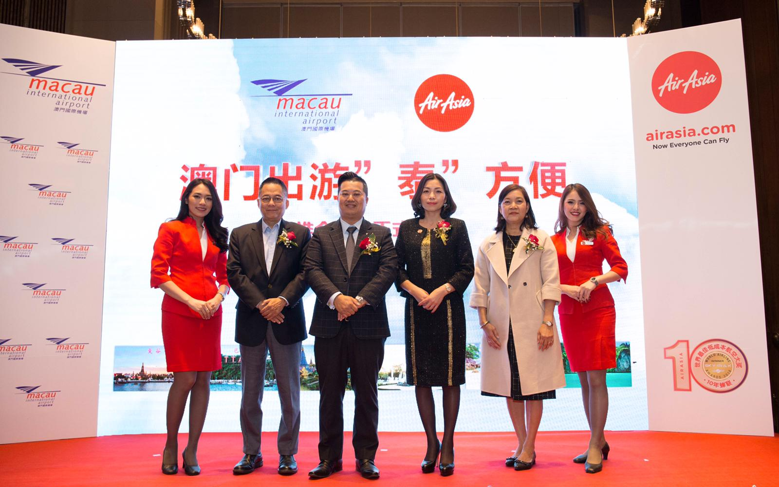 Photo caption: (From the left 2) Mr. Peter Chan, Head of Ground Operations & Cargo of Menzies Macau Airport Services, Mr. Eric Fong, Director of Marketing Department of Macau International Airport Company Limited, Ms. Celia Lao, CEO of AirAsia Hong Kong and Macao, Ms. Inthira Vuttisomboon, director of Tourism Authority of Thailand Guangzhou Office