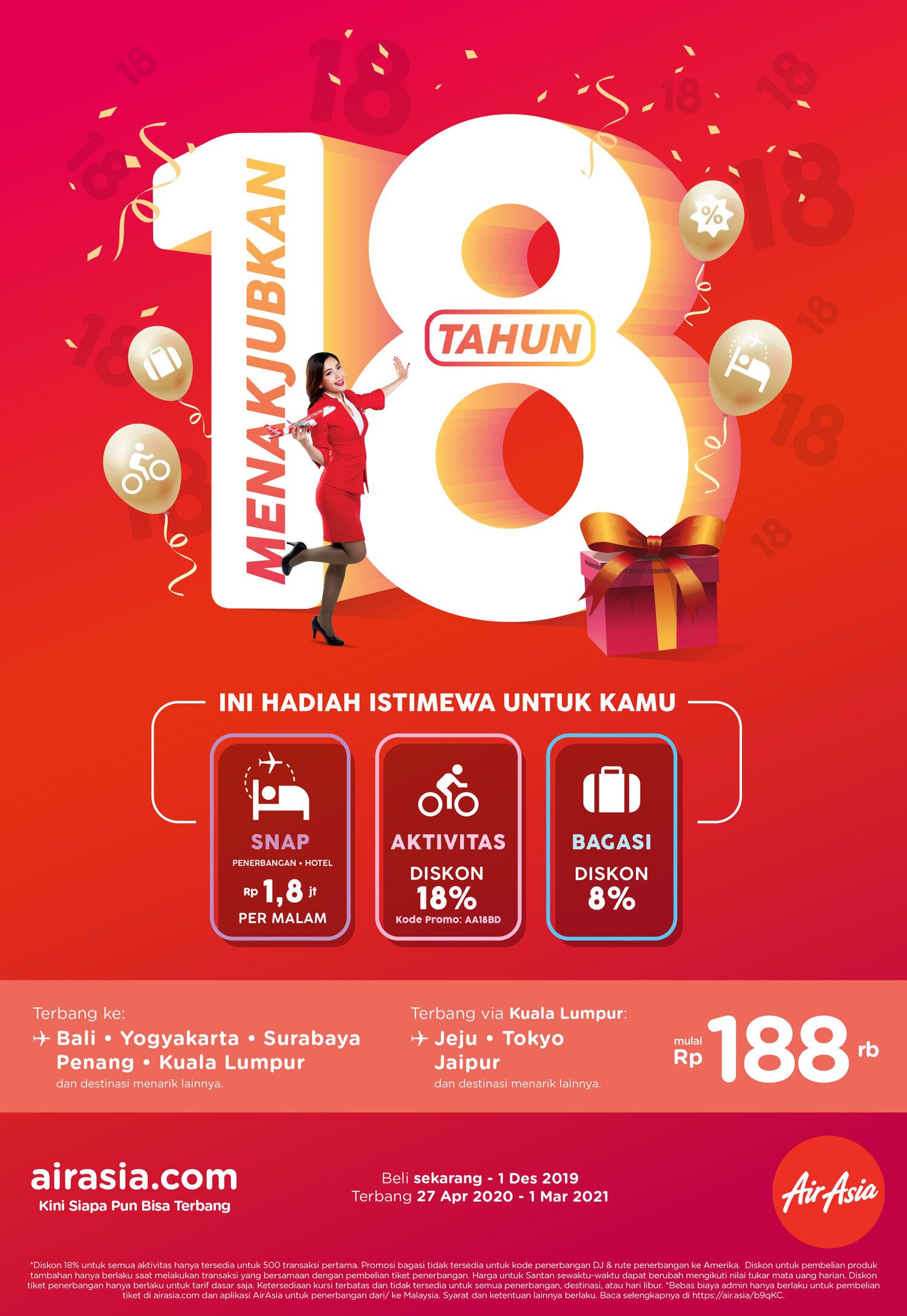 Airasia Peringati 18 Tahun Mengudara Dengan Promo Hemat Mulai Rp188 000 Airasia Newsroom