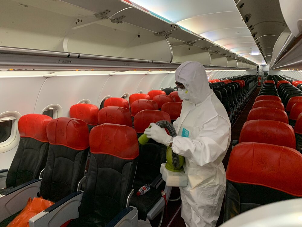 The disinfectant will be sprayed on all surfaces in the aircraft cabin.