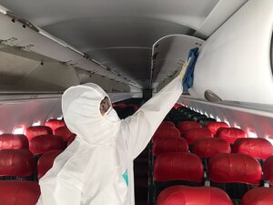 After spraying the disinfectant, all surfaces in the cabin will be wiped.