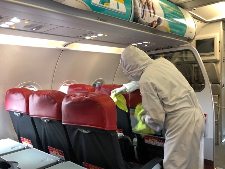 Cabin disinfection before and after every flight.