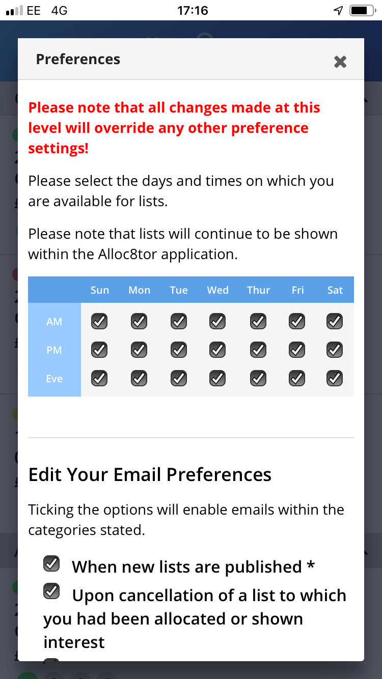 Specifically to limit emails to days when you are actually available for work  If you can never work on a Sunday, then untick Sunday and you will not receive any emails for lists on that day.