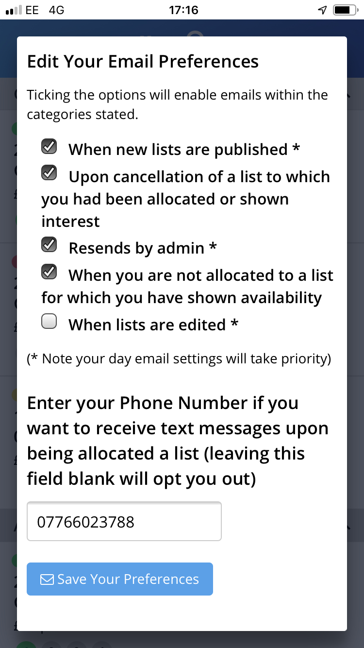 Or indeed to opt-out of all notification emails.  Note that lists which are flagged as urgent by the admin staff may override some of these settings.