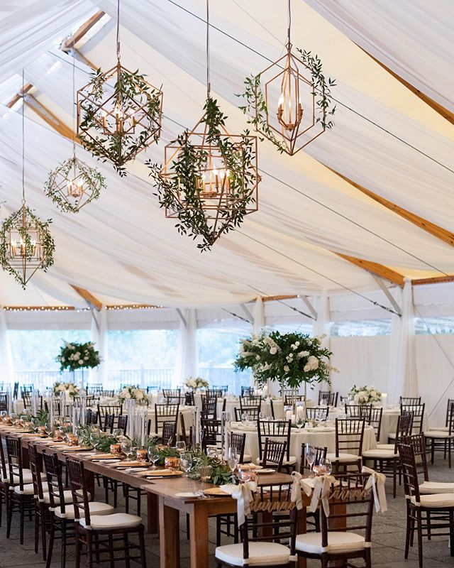The sail cloth tent, silky fabric swags, dreamy chandeliers, flowing greens and romantic candlelight made for a perfect backdrop for C + D's big day.  Photo by @jennymoloneyweddings  Planner: @kimberlypaigeevents  Florist: @beachplumfloral  Venue: @castlehillinn  Tent Decor: @eedecor  Rentals: @peakeventservices  Bride: @cjavery  #luxurywedding #oceansidewedding #newportwedding #weddingdecor #tentwedding #modernweddings #weddingfloral #weddingplanner #njweddingplanner #kimberlypaigeevents