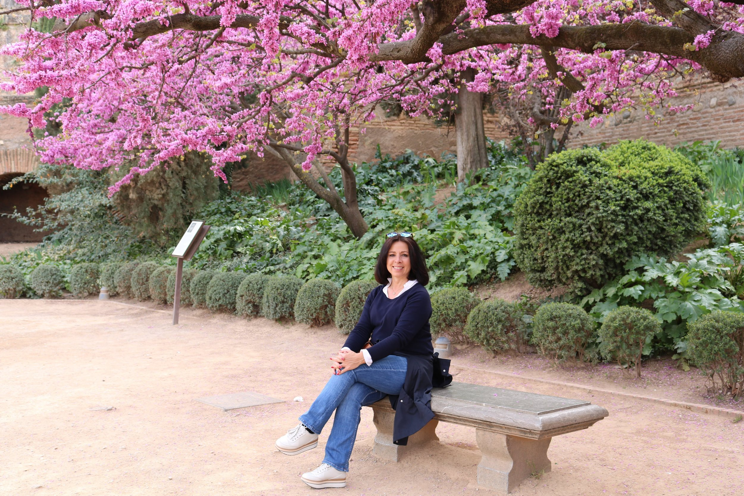 Elena in the famous gardens of the Alhambra palace