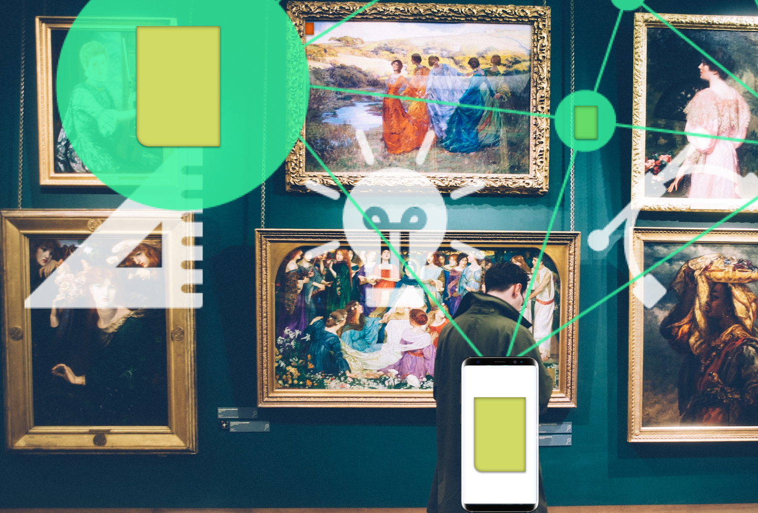 Onlive is designed to adapt to every situation we are in. If we would be in a museum it could capture the information and functionality in Onlive Cards and offer them to their visitors when they enjoy the artworks. In theory, every artwork could contain an Onlive Card.