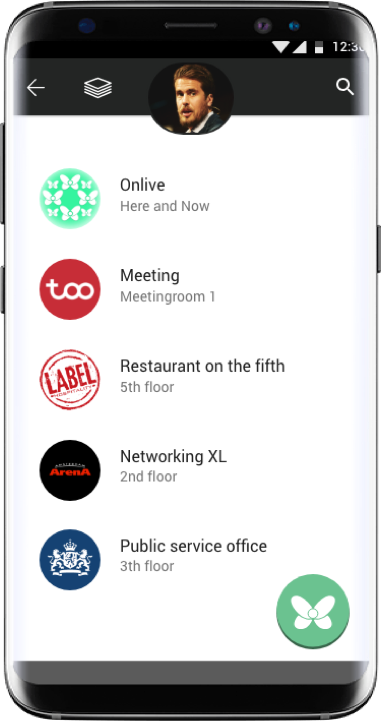 Groups - Onlive automatically forms relevant groups with people that share their physical contexts with each other. Groups are created and controlled by group hosts. Everybody who wants to offer their visitors information and functionality can become group host.e.g: An office building can have different companies on each floor. Each company can have it's own group
