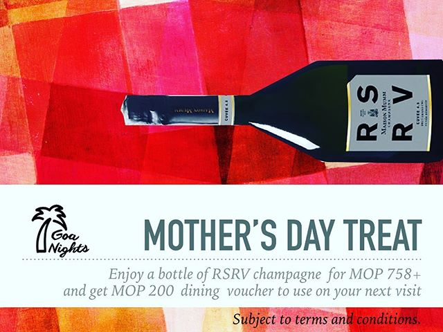 Never too late to think about Mother's Day! If you love bubbles as much as we do, enjoy a bottle of Maison Mumm RSRV champagne for Mop 758 and get a MOP 200 dining voucher to use on your next visit!