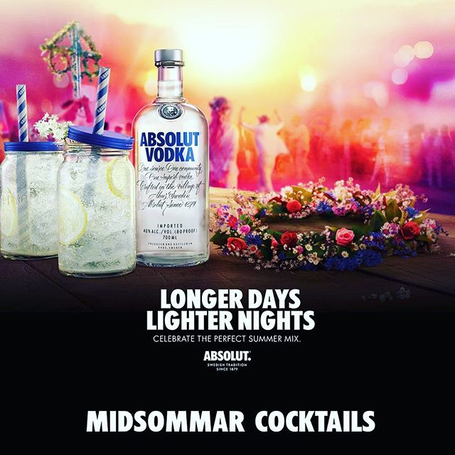 Absolut Midsommar cocktails all month long! Enjoy three cocktail variations, The Kicking Mule, Love from Sweden and Where is Peachy at Goa Nights.  Take a snap of your Absolut Midsommar cocktail, check in at Goa Nights and get 10 likes to get a free mini vodka bottle giveaway!