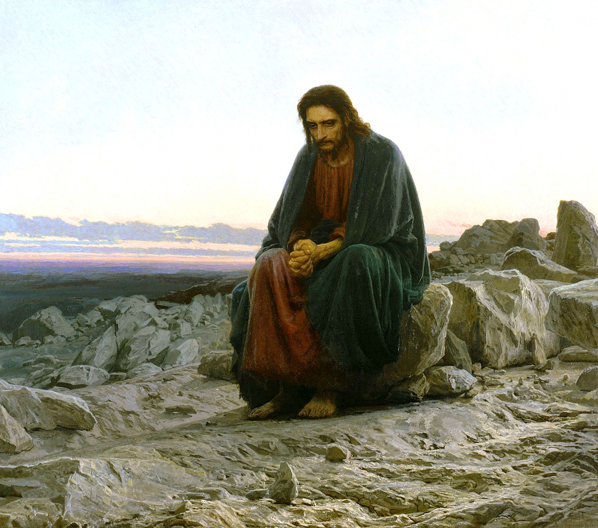 So Jesus looks really depressed in this free stock photo. Let's just say He was in deep introspection.