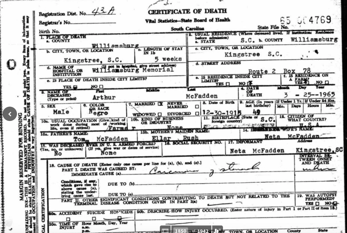 Part of a death certificate for Tom McFadden, son of Samuel James McFadden who died in 1950.