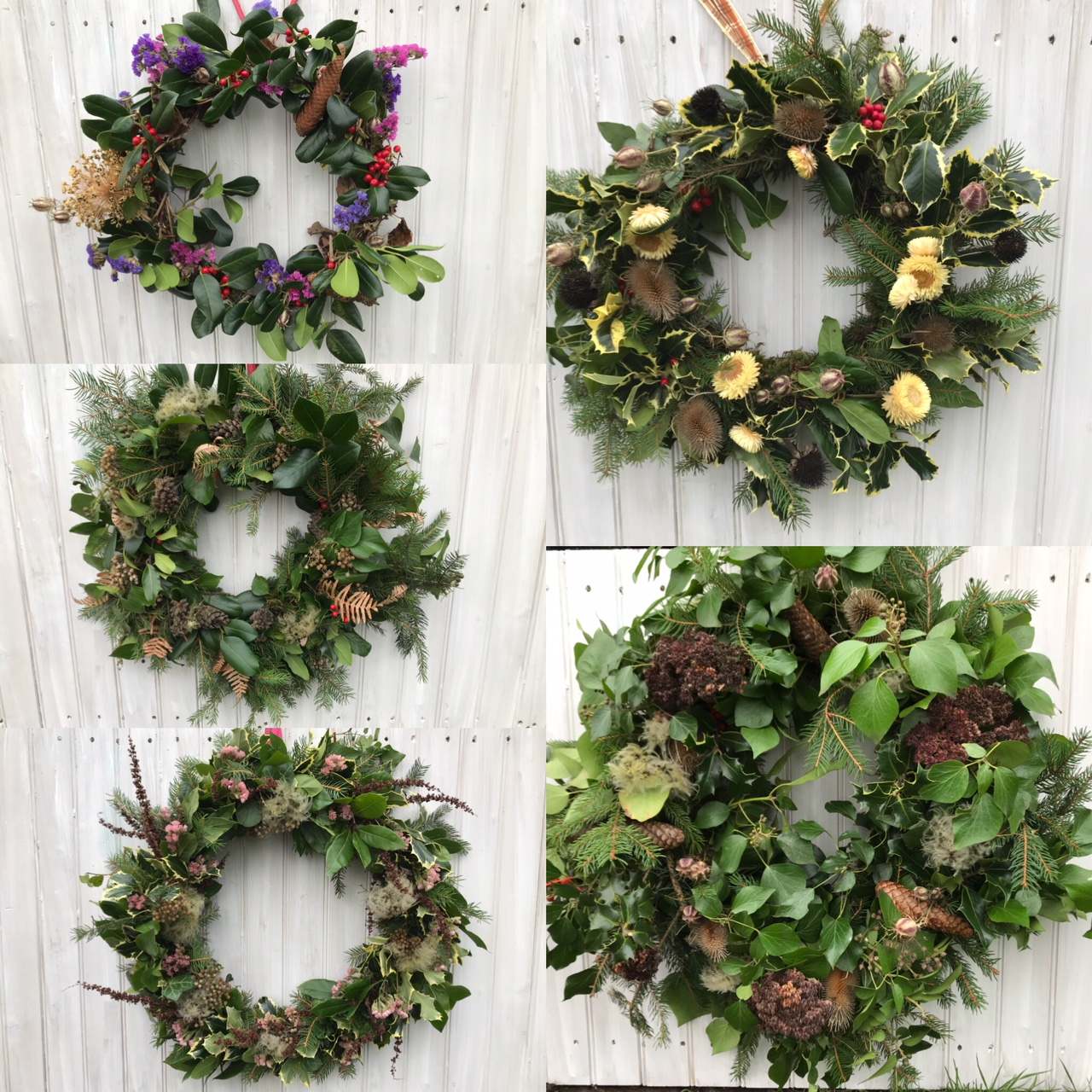 Just a few of the wreaths created during our winter workshops