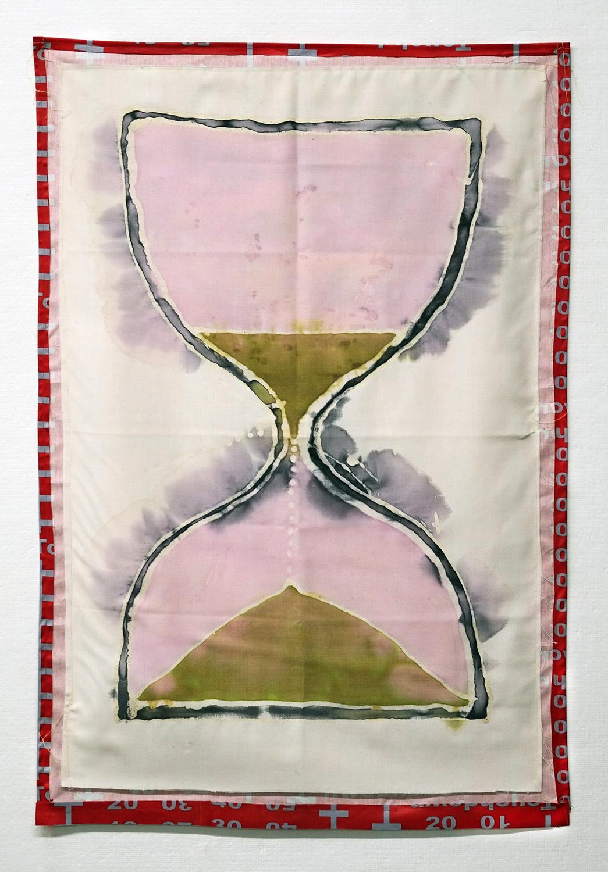 Touch Down  dye, linen, printed fabric, thread  27x41  2016