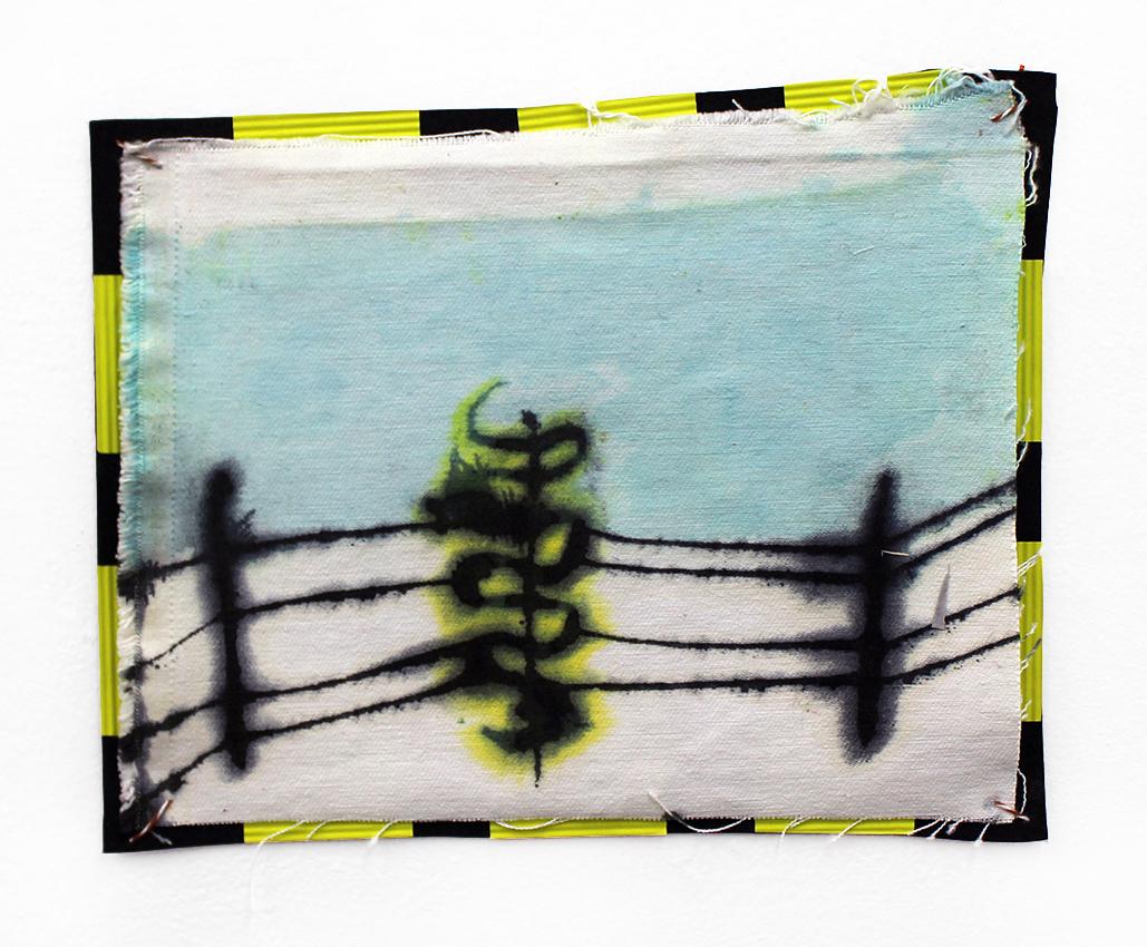 Snake on the Fence  dye, denim, foam, paper, thread  10.5x8.5  2016