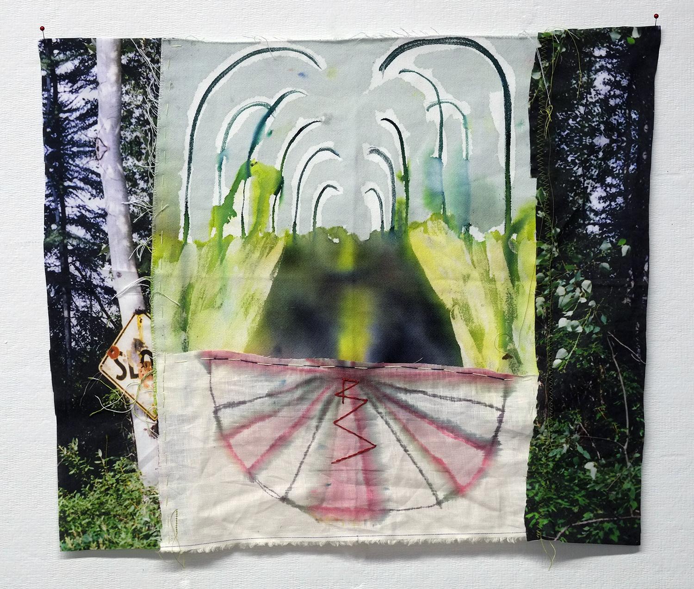 "Slow Road  photograph on cotton, dye, linen, thread  20x21""  2016"