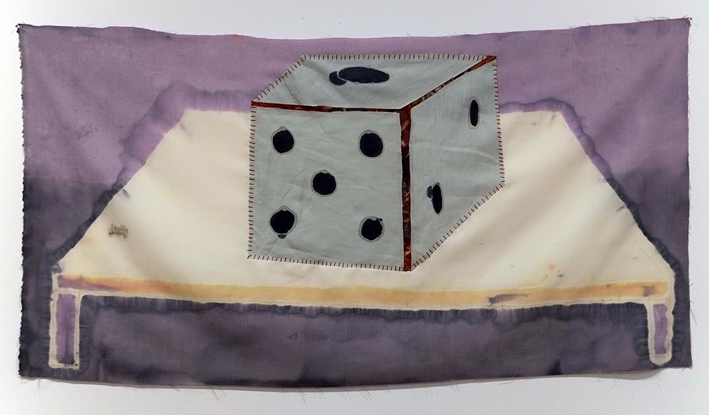 "Play it as it Lays  dye, linen, cotton, thread  54x30""  2015"