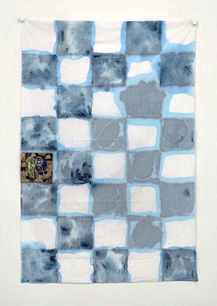 "Open Water  acrylic paint, cotton, ceramic, photograph, pins,  35x56x1""  2015"