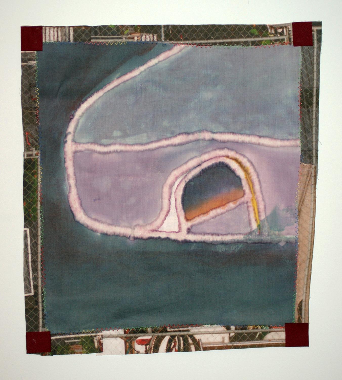 "Passenger Side Sunset  dye, linen, photograph, printed on cotton, thread  13.5x11""  2016"