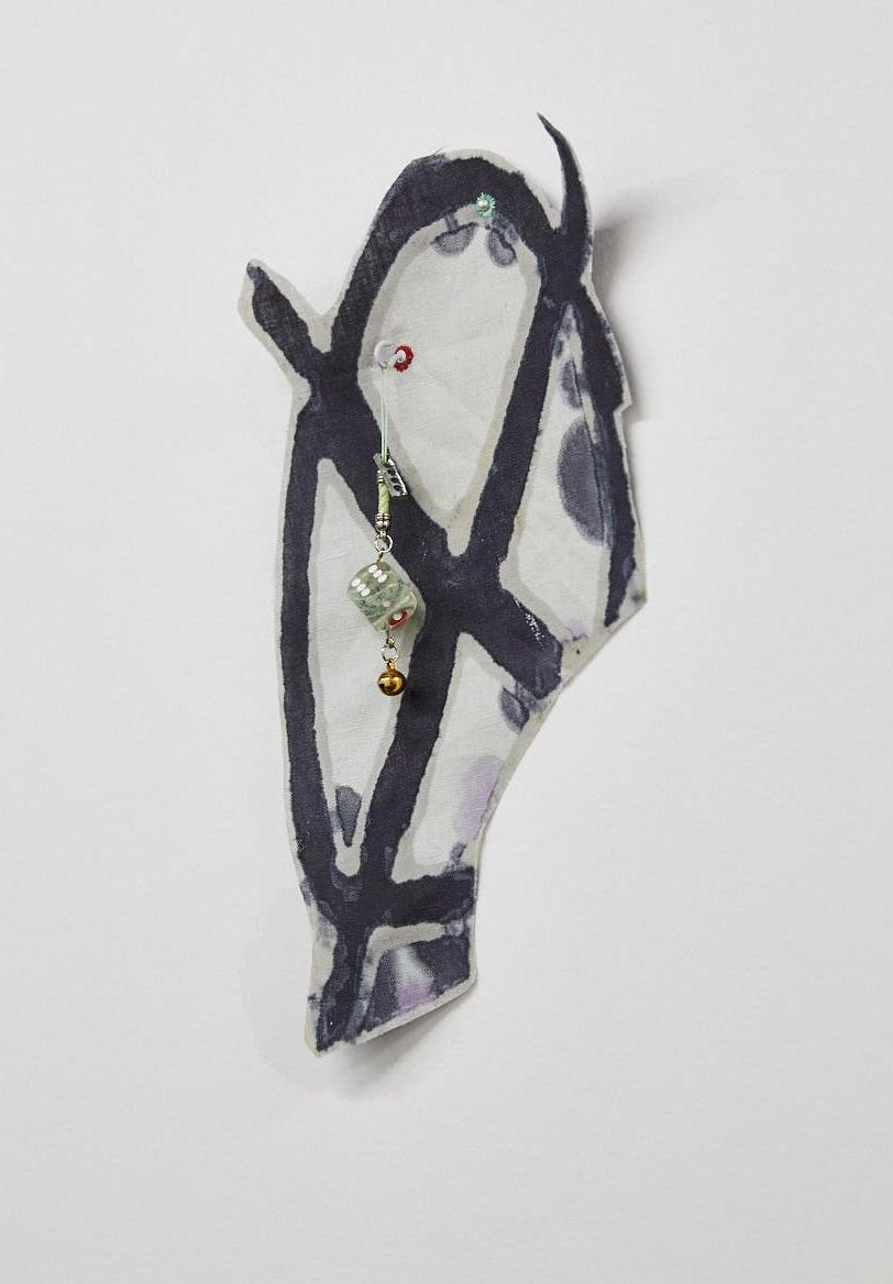 """Rival Tribal Revel Revel  dye, linen, thread, hook, dice ornament  5x12x.75""""  2016"""