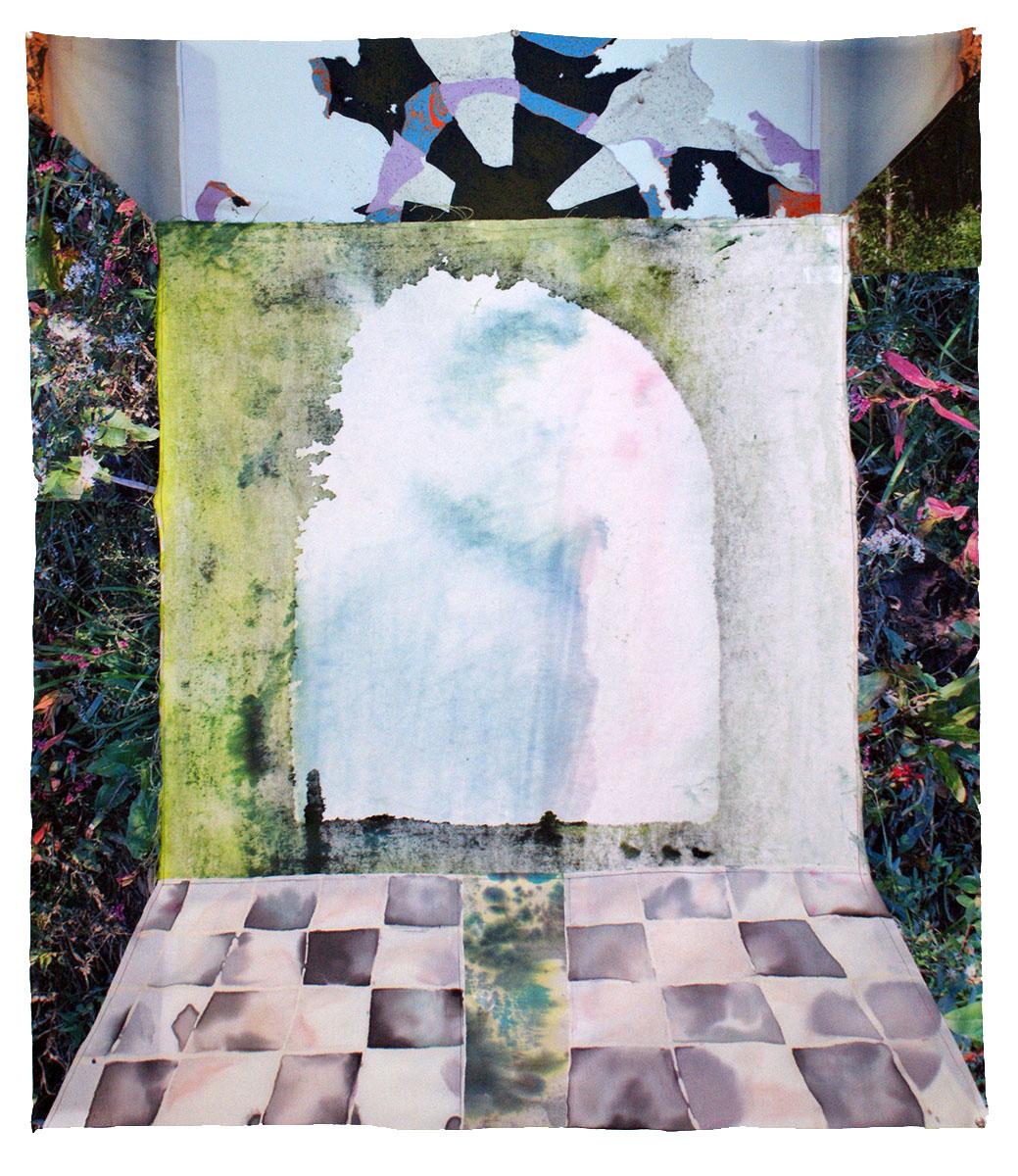 "At the Gate  Photograph on Silk, dye, cotton, thread  39x46""  2017"