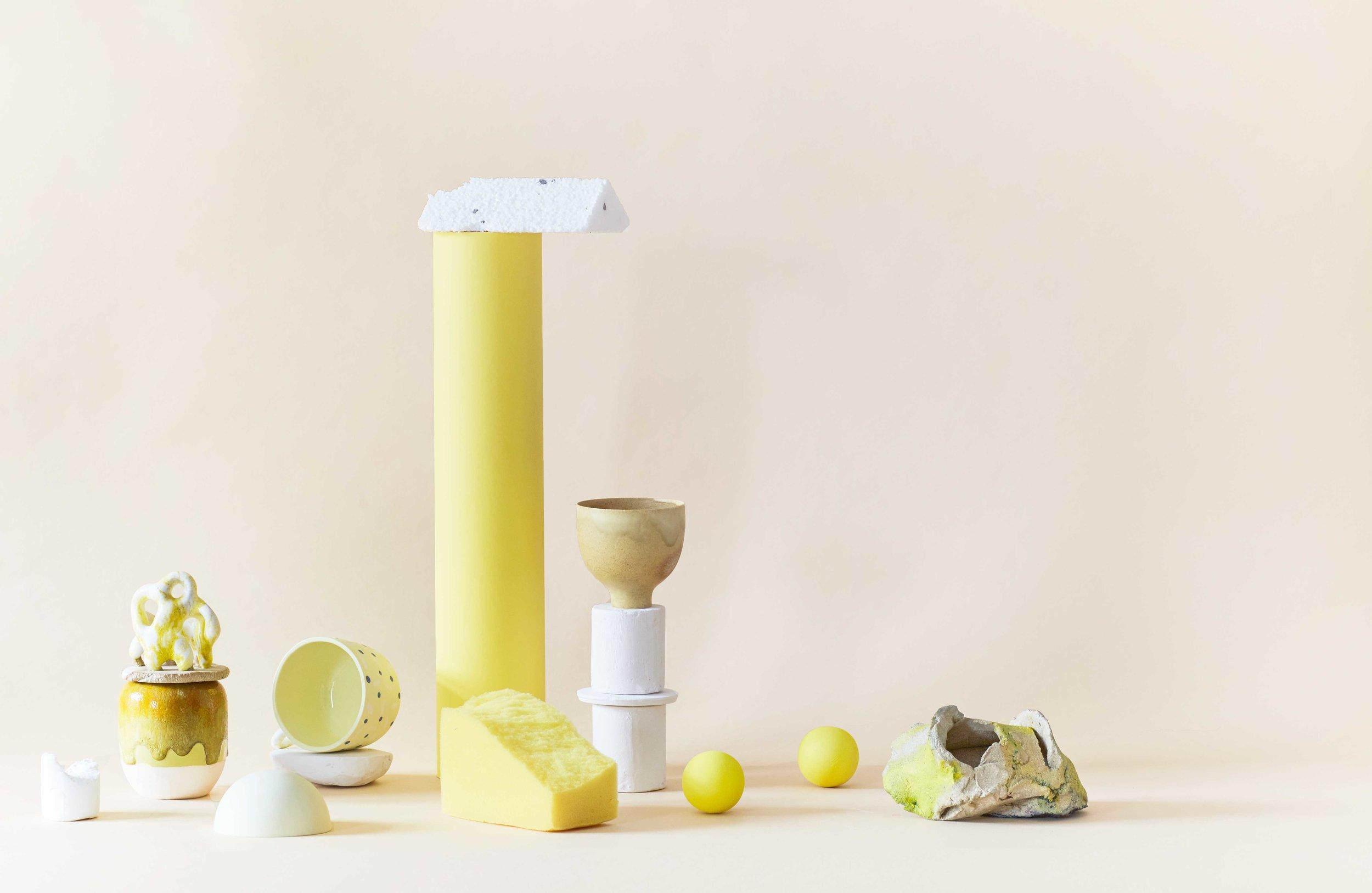 //yellow    Sculpture Bente Skjoettgaard / Vase Arhøj / Cup Yonobi Studio / Cup Stilleben / Sculpture Inge-Lise Koefoed