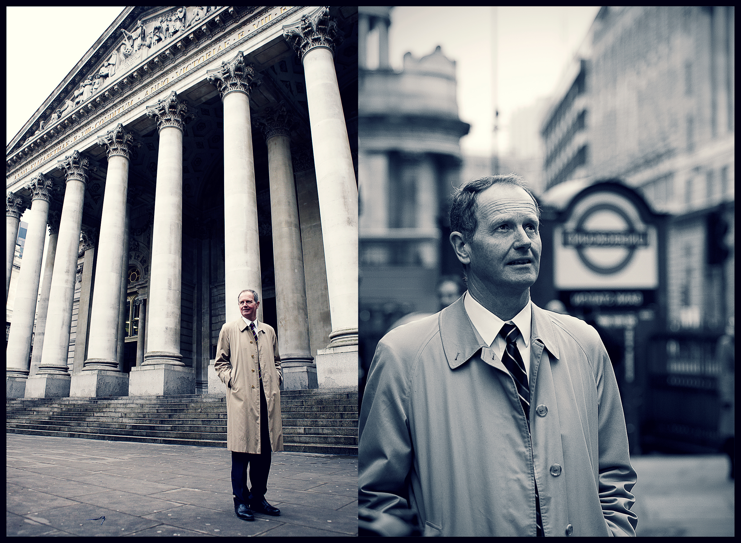 businessman outside the bank of england