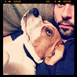Photographer Paul Cahill and his dog Rudy the beagle