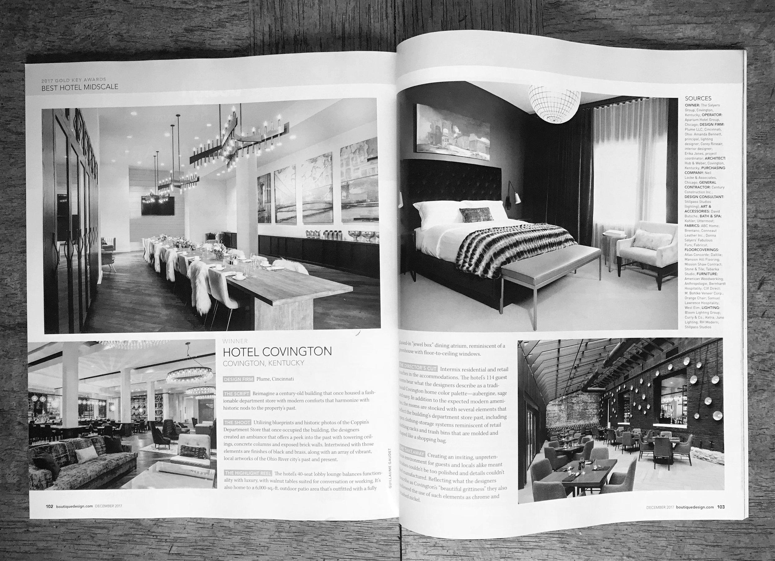 Hotel Covington, Boutique Design Magazine Gold Key Winner, Plume Interiors + Light