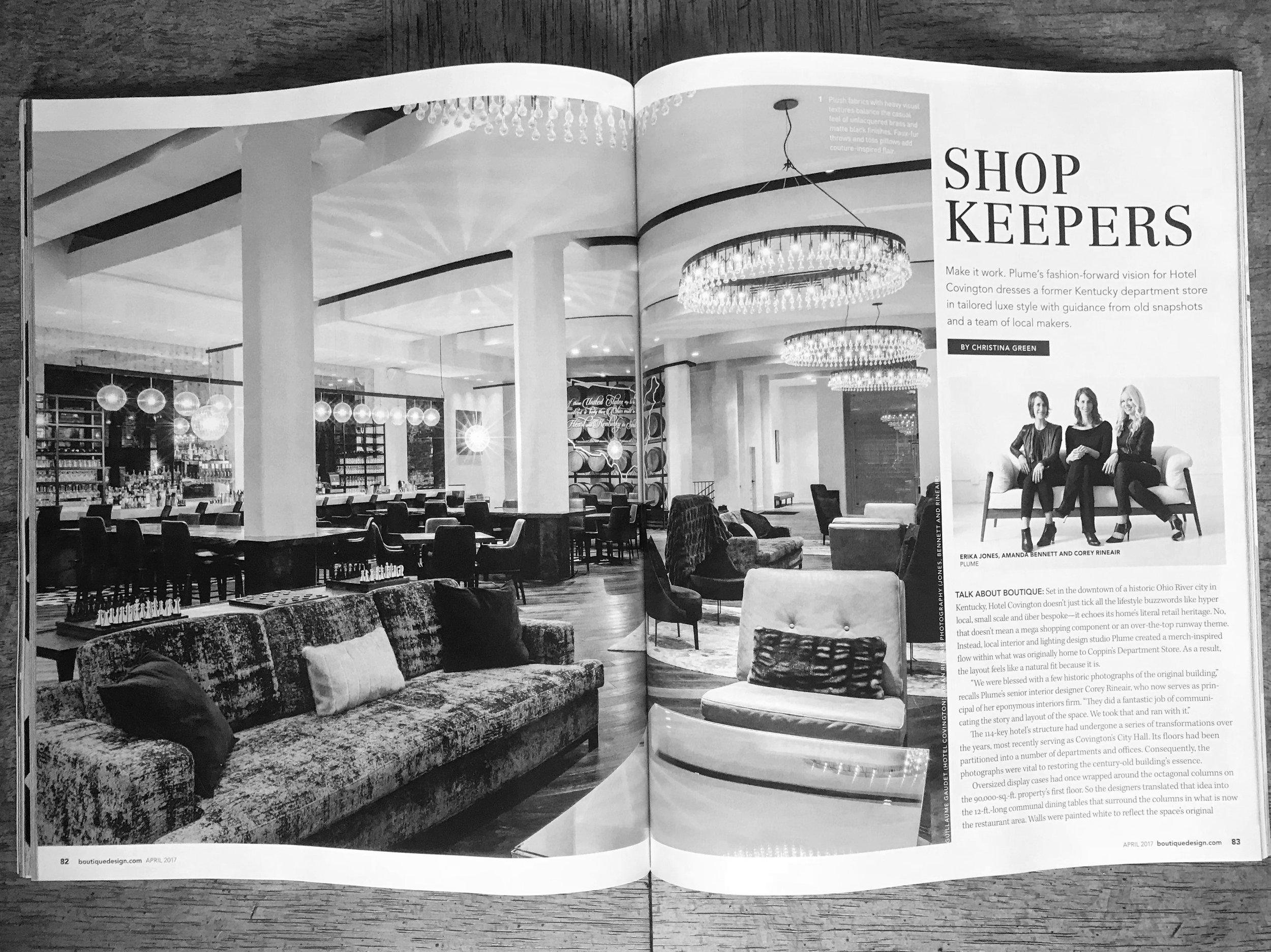 Plume Interiors + Light, Boutique Design Magazine, Hotel Covington
