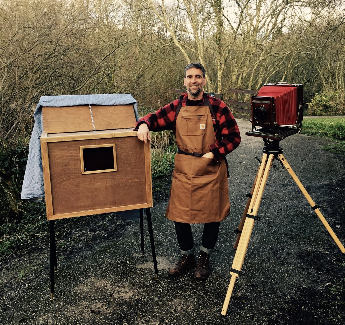 Al Forrester with his Mobile Wet Plate Studio on location in Tywardreath, Cornwall