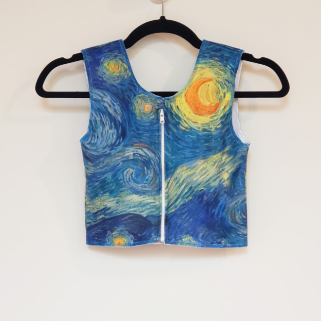 (Image: A  custom print binder in Starry Night Sky  with a  front zipper . All fabric on this binder will stretch around the body, just as it would without a zipper in it.)