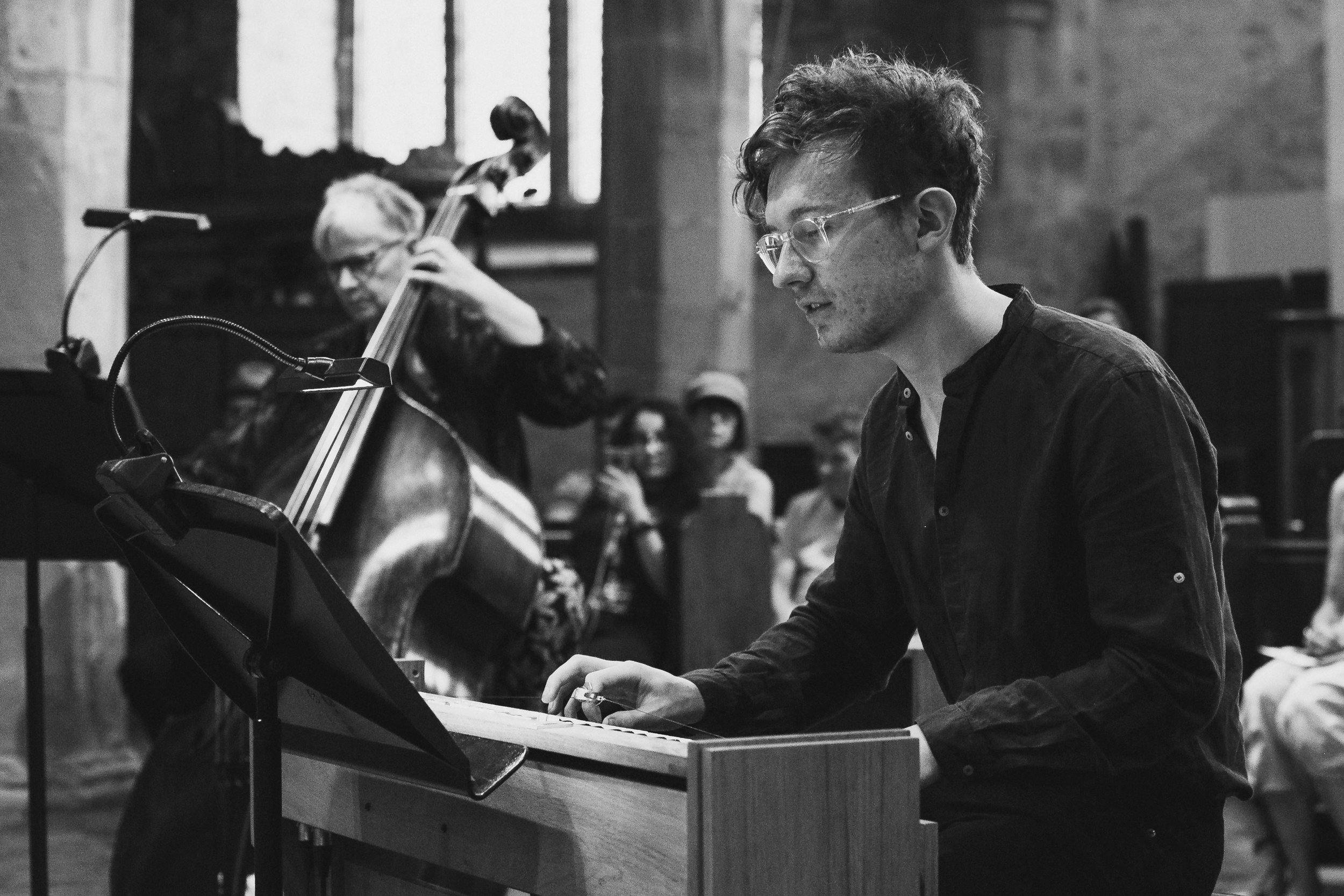 Josh Semans playing the ondes Martenot for Enharmonic Live, Alison Bean on Double Bass in the background (2019)
