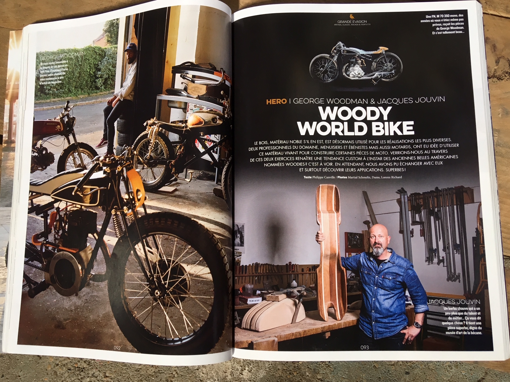 This article introduce Jacques Jouvin and me a.k.a George Woodman about the way to mix wood with motorcycles. (I'm the one on the left side ;))