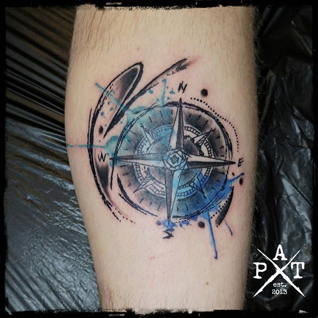 Abstract watercolor compass  #abstract #watercolor #compass #tattoo #inkbypat #worldfamousink #cheyenne_tattooequipment #craftcartridges #munich #münchen #germany #tattooed