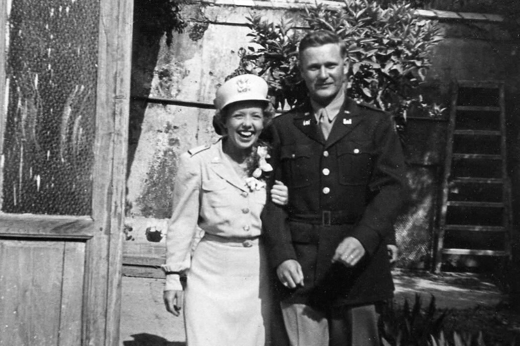 Elsie and Loren on their wedding day in Italy during World War II