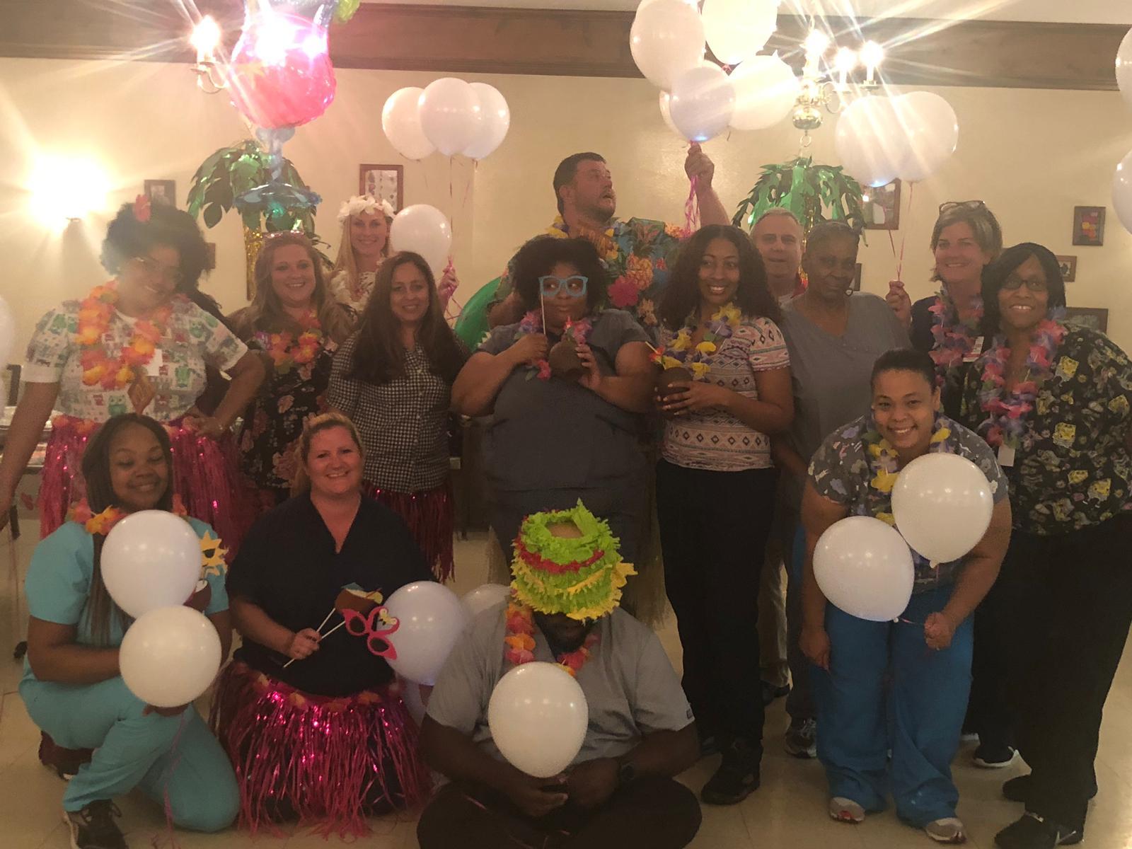 Team Perrysburg enjoying a luau.