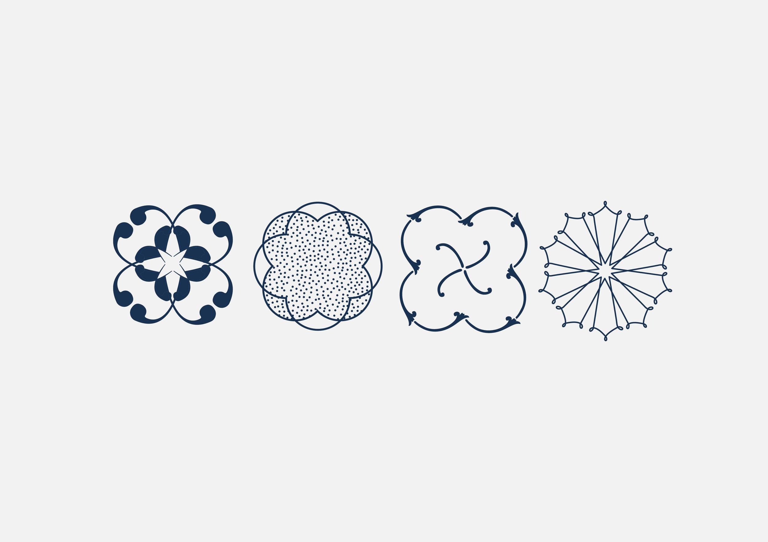 Élaboration d'un jeu de motifs créé à partir des dessins de faïences des collections Gien.
