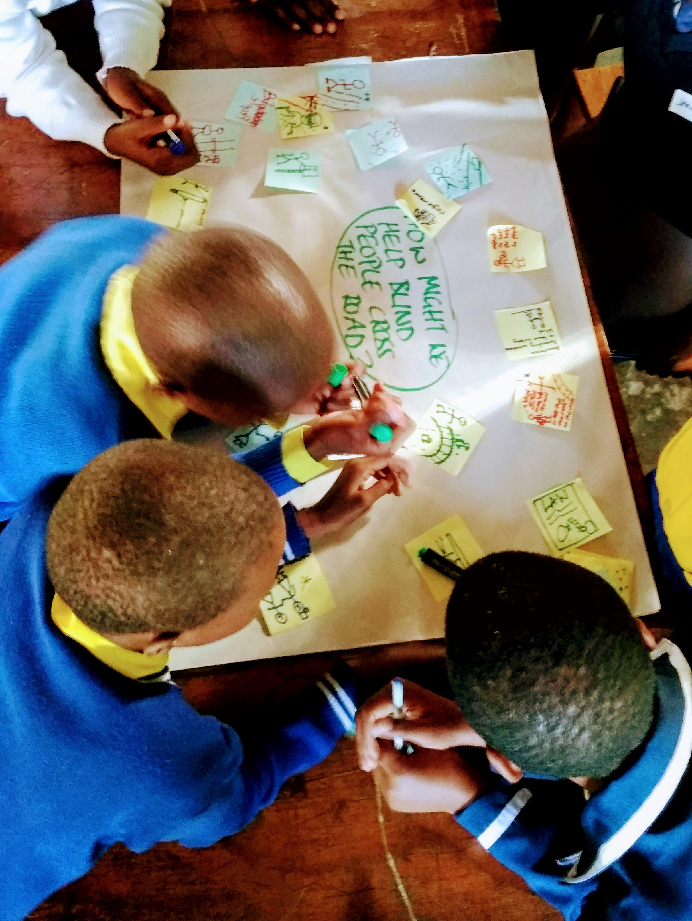 The children brainstorming ideas at our workshop held earlier this month