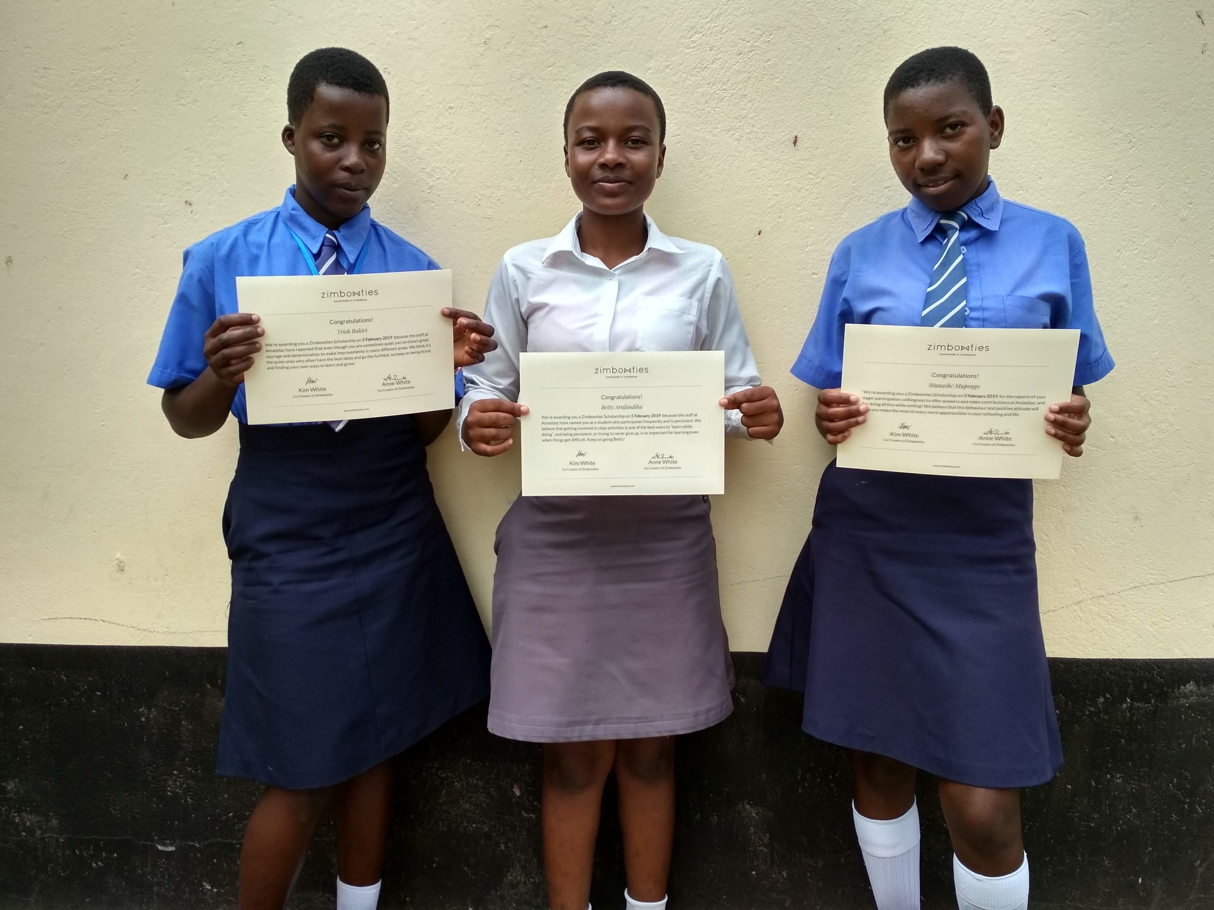 Trish, Betty and Munashe, three of our recent creativity scholars at the Amatelaz Homework Centre