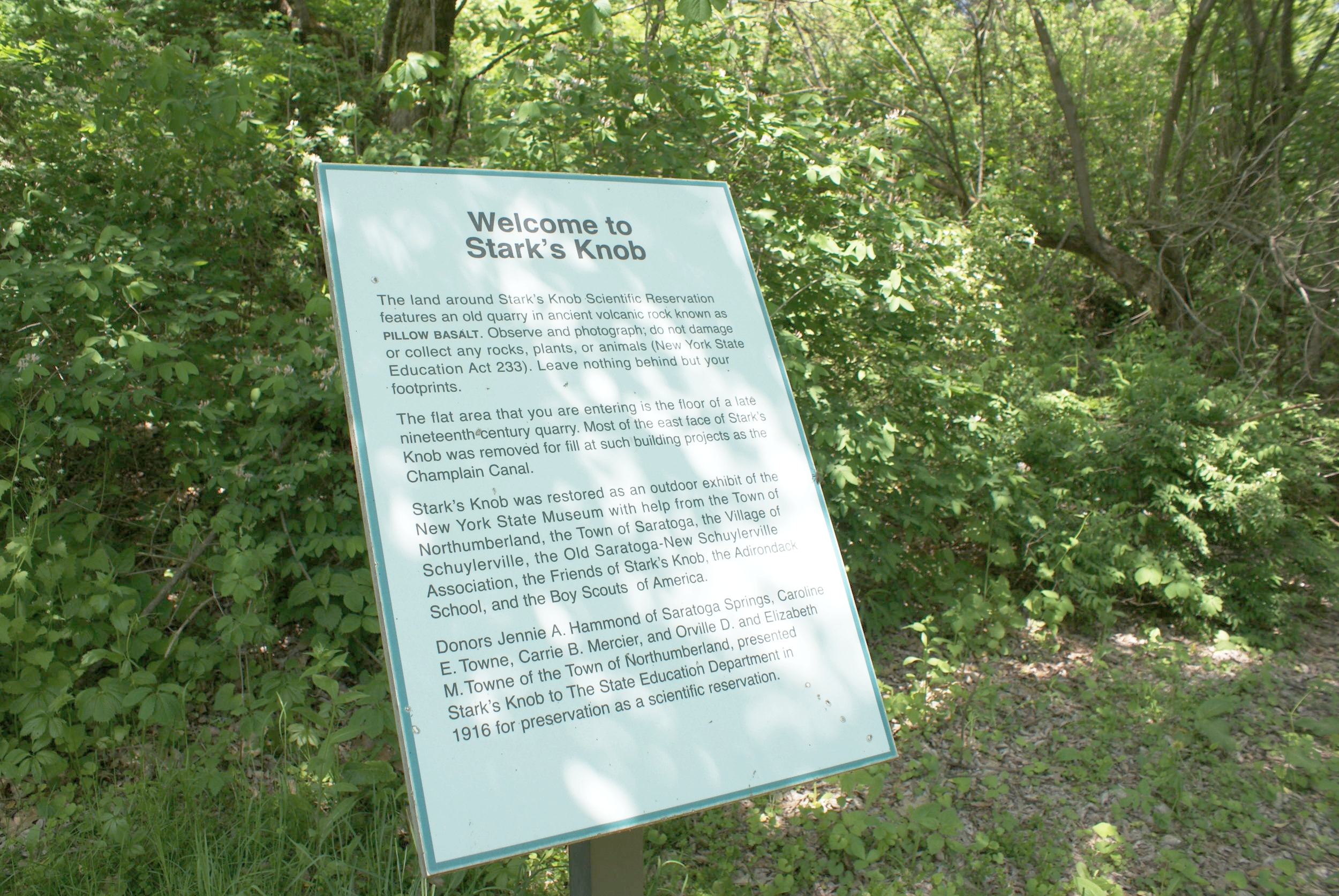 Interpretive signage informs visitors of the history of the site