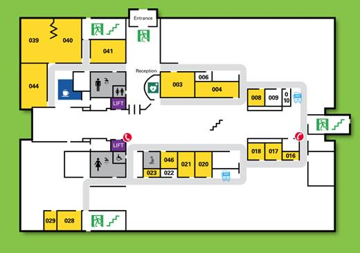 The Wellbeing Room is located in room 004. Turn left after entering through reception and you will see it on your left hand-side.