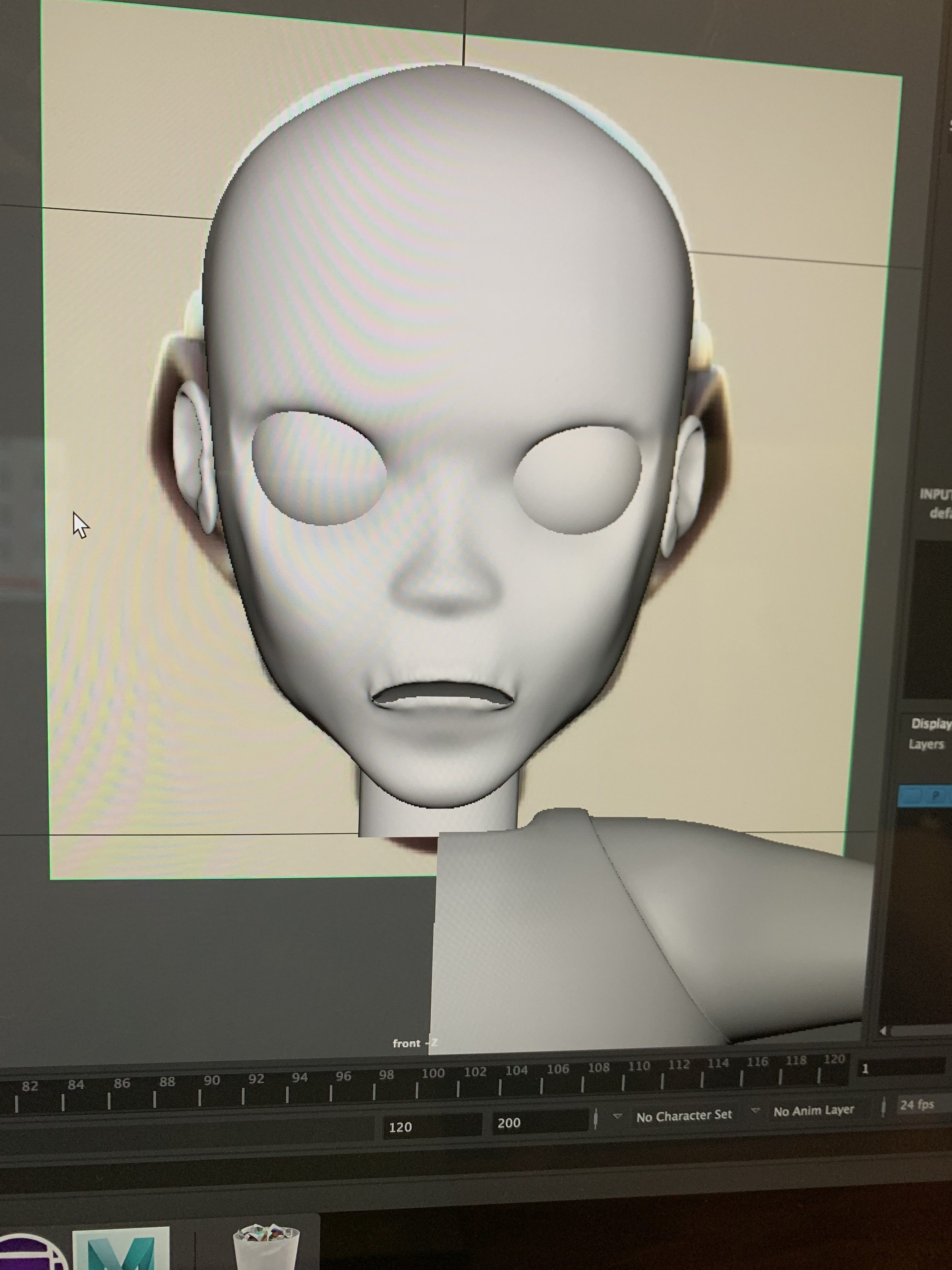 Early stages of modeling the face and head in Maya 2019.2