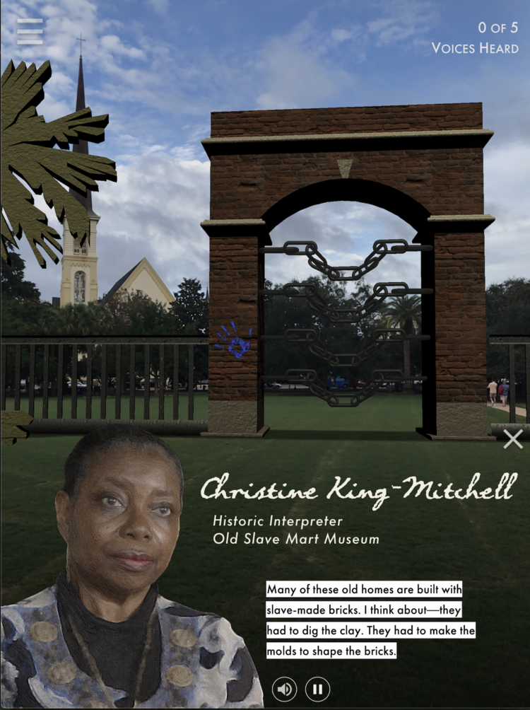"""Screen grab of the """"Door of No Return"""" placed in Marion Square using augmented reality, based off of the infamous gateway in Ghana"""