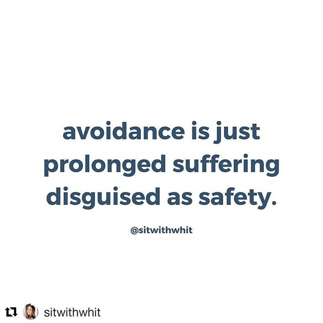 """Whew. This is uncomfortable.  And true.  #burstofbliss #thelieoffalsepower #tosufferistobehuman  #Repost @sitwithwhit (@get_repost) ・・・ Avoidance is a great coping skill in the moment. It makes you feel safe. Like, """"if I just pretend this isn't here or look away for long enough it'll go away."""" We avoid when we say """"I'm fine"""" instead of sharing or feelings.  We avoid when we drink to cover up our pain.  We avoid when we refuse to acknowledge that suffering is often part of being human.  Avoidance leads to a short burst of bliss. We feel safe and powerful when we avoid, but the denial and avoidance just leads to more pain.  It'll show up in your mind, your body, and your behaviors. Eventually it will lead to more suffering.  The key to less suffering is welcoming the pain. Are you ready to face what you're running from?"""